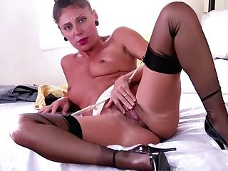 Sexy French Cougar Chloe Is Horny In The Bedroom Unclothing Down To...