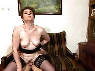 Lucky Boy Bangs A Senior Lady