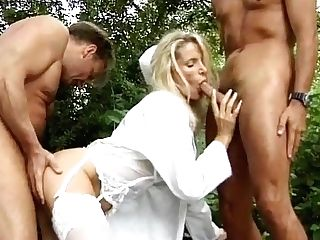 Retro Blonde Nurse Double Penetration & Dual Facial Cumshot