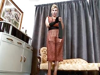 Sexy Blonde Saffy Fucks Cunny With Stilettos In Antique Nylons And...